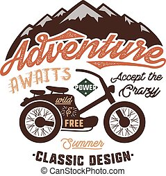 Vintage wanderlust hand drawn label design. Adventure Awaits sign and outdoor activity symbols - mountains, motorcycle. Retro colors. Isolated on white background. Vector typography insignia