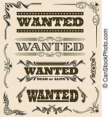 Vintage wanted dead or alive western poster vector frame ornament elements