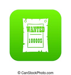 Vintage wanted poster icon digital green