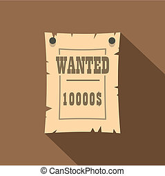 Vintage wanted poster icon, flat style