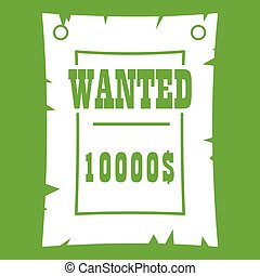 Vintage wanted poster icon green - Vintage wanted poster...