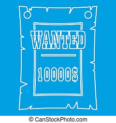 Vintage wanted poster icon, outline style