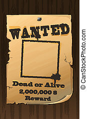 illustration of vintage wanted poster with dead or alive text