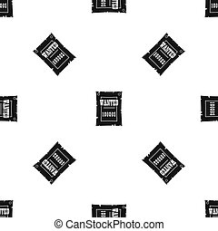 Vintage wanted poster pattern seamless black