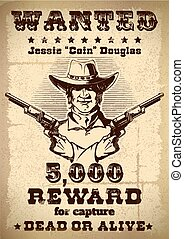 Vintage wanted poster with description of revard when apprehending criminals and cowboys photo in the middle vector illustration