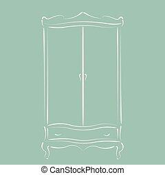 Vintage wardrobe. - Sketched vintage wardrobe. Harmonic...