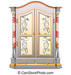 Vintage wardrobe with patterned ornament isolated on white background. Vector illustration.