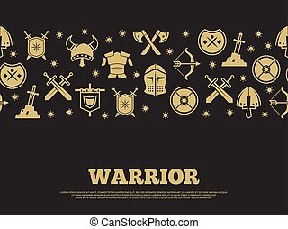 Vintage warrior background with mediewal knights silhouette icons