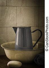Vintage Wash Basin and Jug - Enamel wash basin and jug (jug...