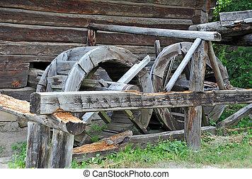 Vintage wooden water mill wheel, Pirogovo, Kiev, Ukraine