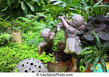vintage water pump in the garden