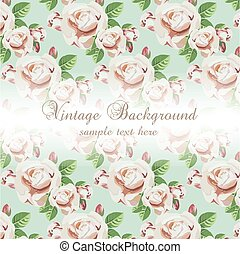 Vintage Watercolor Background with Blooming Flowers