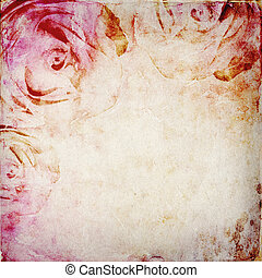 Vintage Watercolor background with  roses and space for text