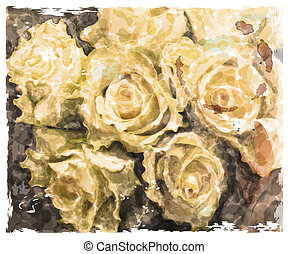 Vintage watercolor background with roses yellow roses.