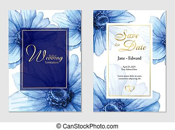 Vintage watercolor vector card, wedding invitation with blue anemones flowers.
