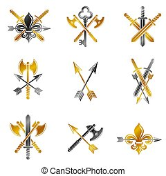 Vintage Weapon Emblems set. Heraldic coat of arms decorative...
