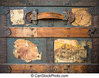 Vintage weathered travel suitcase with old labels