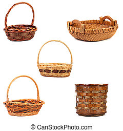 Vintage weave wicker baskets. Isolated on white background