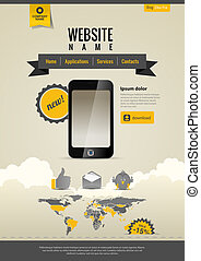Mobile applications. Website template Retro style. Yellow Black.