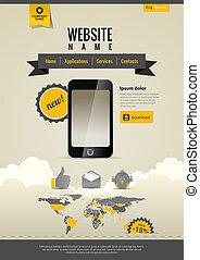 Vintage website template - Mobile applications. Website ...