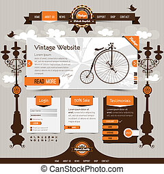 vintage website template with retro, classic elements and textured ribbons, labels