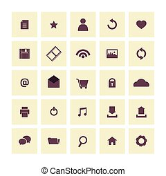 Vintage Website Vector Icons Set.