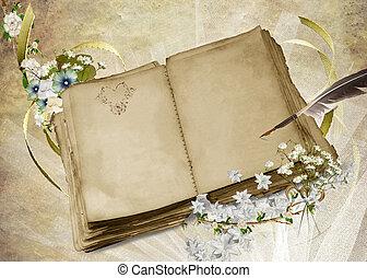 Vintage Wedding Book - Vintage quill pen on wedding book.