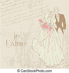 Vintage Wedding Card - for design, invitation, congratulation, scrapbook