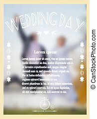 Vintage wedding card with bride and groom in a landscape. Vector