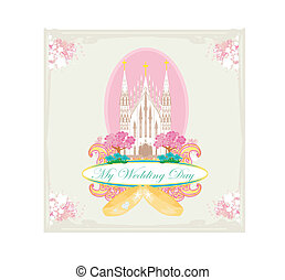 vintage wedding card with rings and elegant Catholic Church