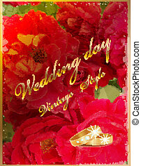Vintage wedding card with rings and red roses.