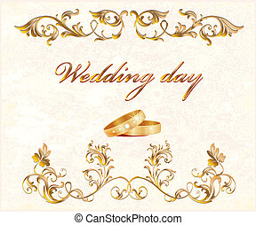 wedding card -  vintage wedding card with rings
