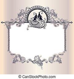 Vintage wedding frame with bird