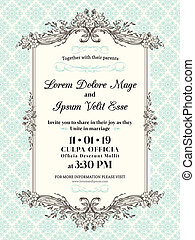 Vintage Wedding invitation border and frame template