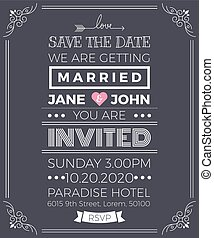 Vintage wedding invitation card template with clean & simple...