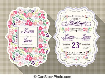 vintage wedding invitation card with flower template