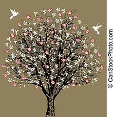 Vintage wedding invitation card with elegant retro floral tree design