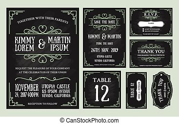Vintage wedding invitation chalkboard design sets include...