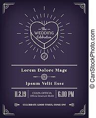 vintage wedding invitation design frame minimal style line art on purple background