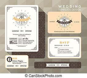 Vintage wedding invitation set design Template place card response card save the date card