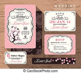 Vintage wedding invitation set design Template