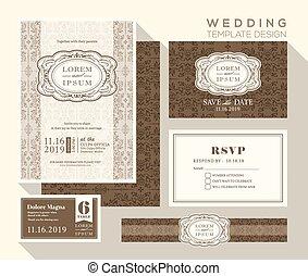 vintage wedding invitation set design Template - vintage ...