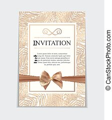 Vintage Wedding Invitation with Bow and Ribbon Template Vector Illutsration