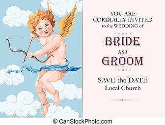Vintage wedding invitation with cupid