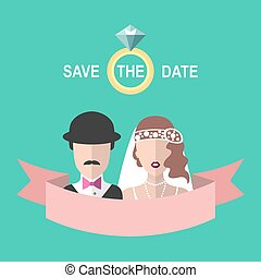 Vintage wedding romantic invitation card with ribbon, ring, bride and groom in flat style. Save the Date invitation.