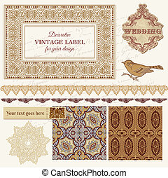Vintage Wedding Scrapbook Set - Persian Tiles and Birds in vector
