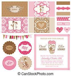 Vintage Wedding Set - for Wedding, Bridal Shower, Party Decoration - in vector