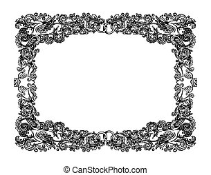 Vintage wedding vignette frame