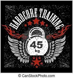 Vintage weight sign on grunge background - vector emblem. - ...