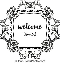 Vintage welcome tropical, drawing flower with design cute. Vector